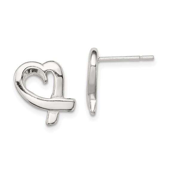 Sterling Silver Ribbon Heart Earrings