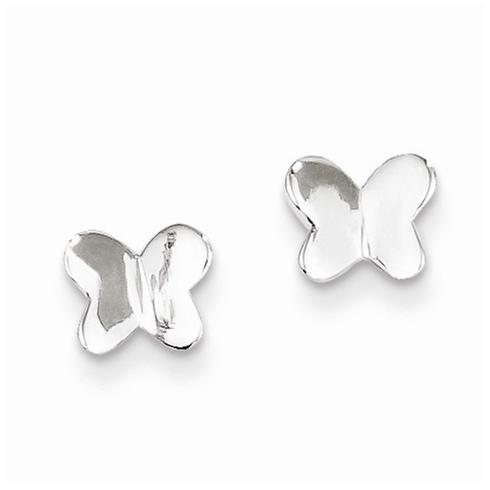 Sterling Silver 1/4in Flat Butterfly Post Earrings