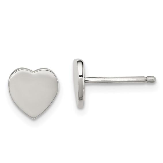 Sterling Silver 1/4in Flat Heart Post Earrings