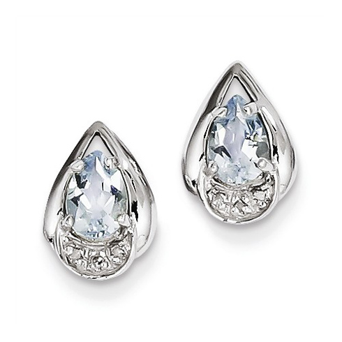 Sterling Silver 1.33 ct Pear Aquamarine Earrings with Diamonds