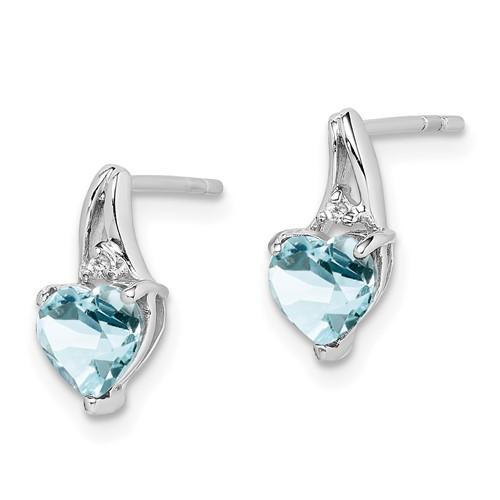 Sterling Silver 3/4 ct Aquamarine Heart Earrings with Diamonds