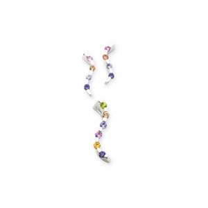 Sterling Silver Multi-colored CZ Earring & Pendant Set