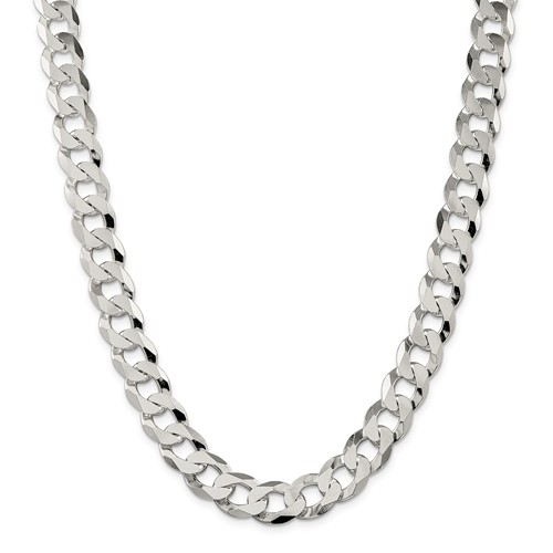 24in Sterling Silver 13mm Beveled Curb Chain