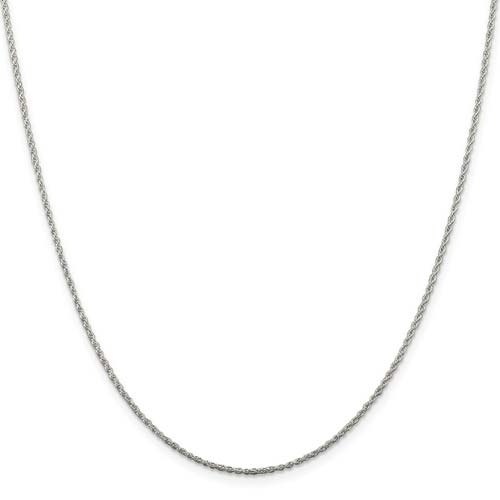 Sterling Silver 16in Rope Chain 1.3mm