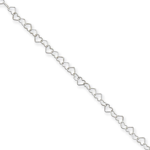 18in Heart Link Necklace 3.5mm