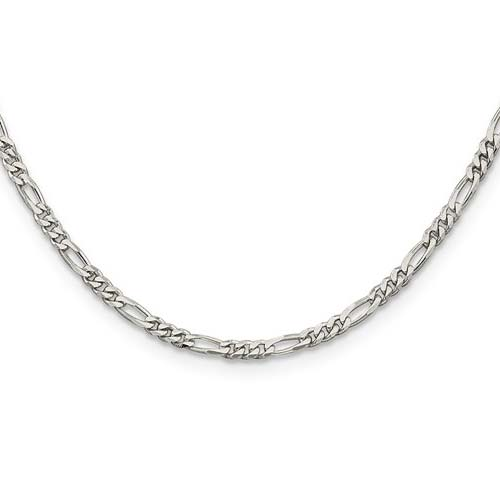 Sterling Silver 24in Figaro Chain 3mm