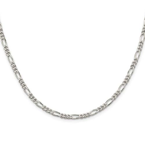 7in Sterling Silver 4mm Figaro Chain