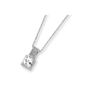Sterling Silver CZ on 18in Chain Necklace