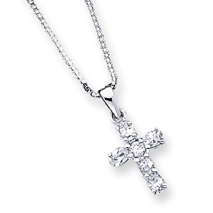 Sterling Silver 9/16in CZ Cross with 16in Box Chain
