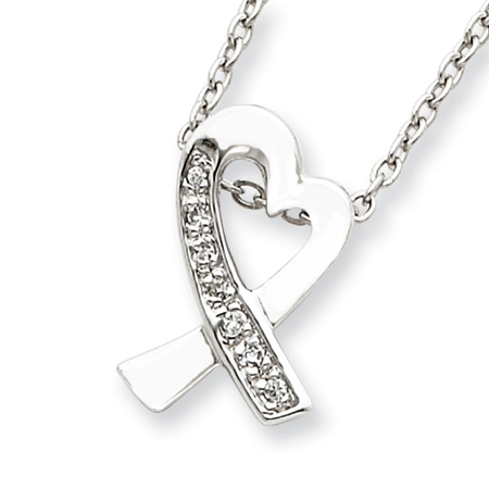 Sterling Silver 16in Cubic Zirconia Ribbon Heart Necklace