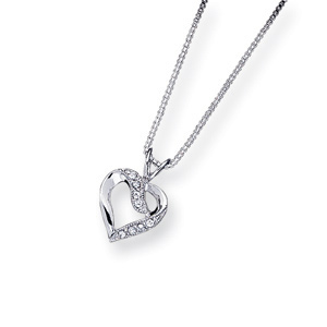 Sterling Silver CZ Heart Pendant on 16in Box Chain