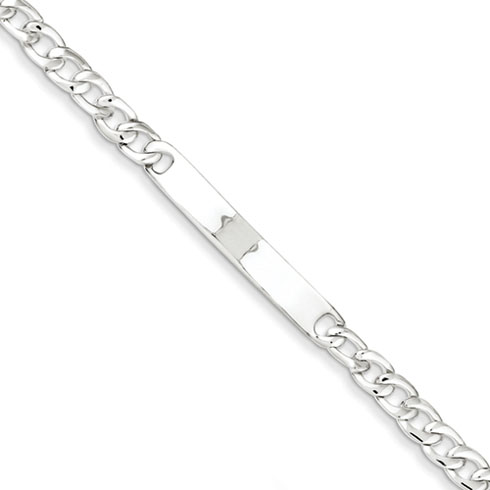 Sterling Silver 7.25in Small ID Curb Bracelet
