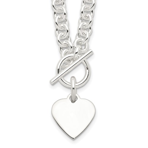 Sterling Silver 18in Heart Toggle Necklace