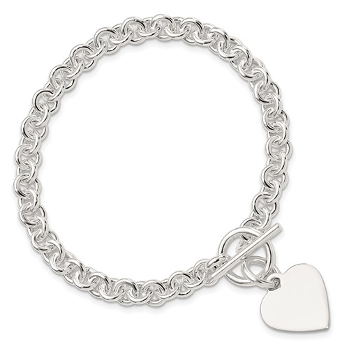 Sterling Silver 7 3/4in Engravable Heart Toggle Bracelet