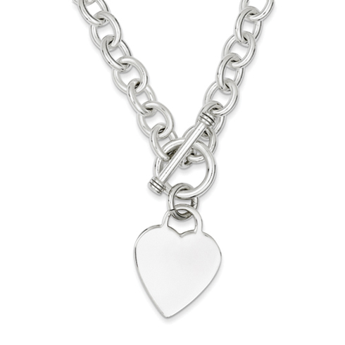 18in Sterling Silver Heart Fancy Link Toggle Necklace