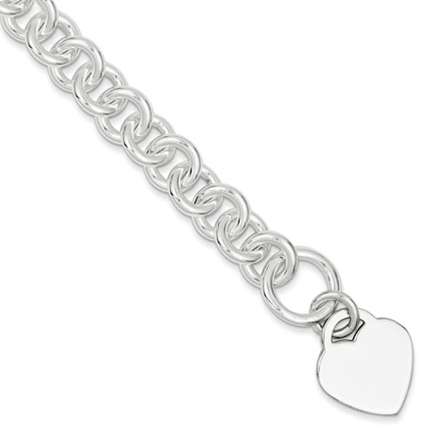 8.75in Heart Toggle Bracelet