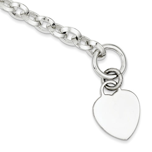 8.75in Heart Toggle Bracelet