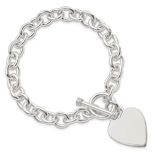 7.75in Heart Toggle Bracelet