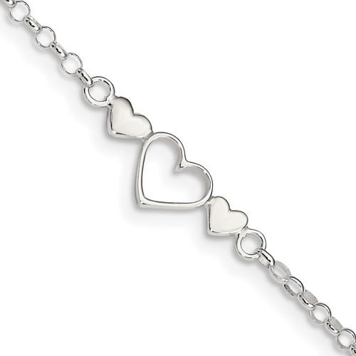 Sterling Silver 10in Triple Heart Anklet