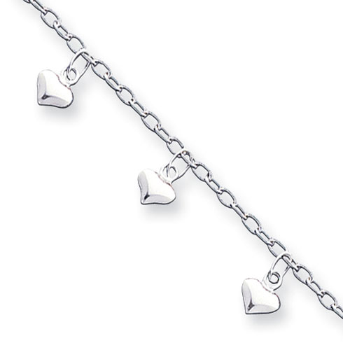 Sterling Silver 9in Puffed Heart Anklet
