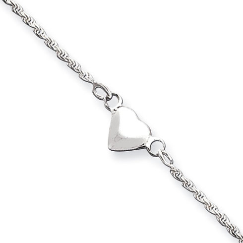 9in Sterling Silver Puffed Heart Anklet