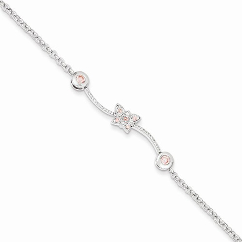 Sterling Silver 6in Pink CZ Childs Butterfly Bracelet