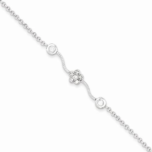 Sterling Silver 6in Childs CZ Cluster Bracelet