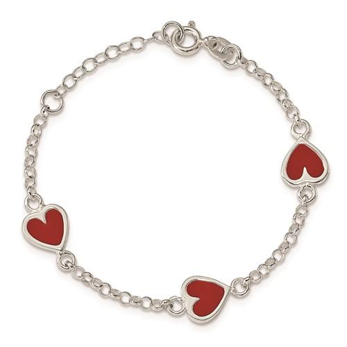 Sterling Silver 6in Enamel Red Heart Child's Bracelet