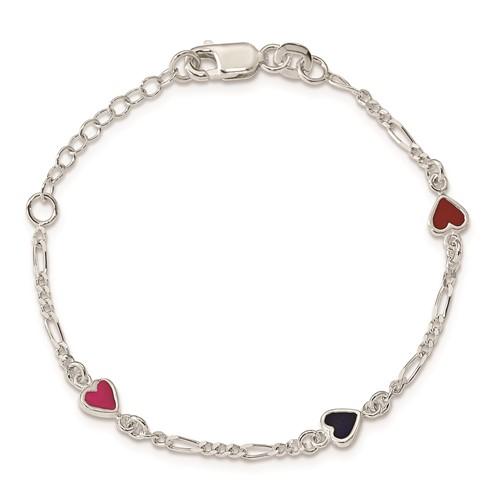Sterling Silver 6in Red and Black Enamel Red Heart Bracelet
