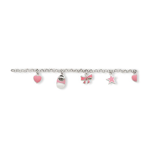Sterling Silver 5 1/2in Pink Enameled Baby Charm Bracelet