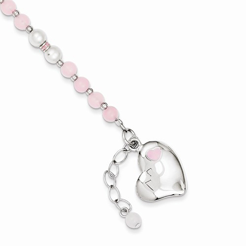 Sterling Silver 6in Pearl and Rose Quartz Heart Bracelet