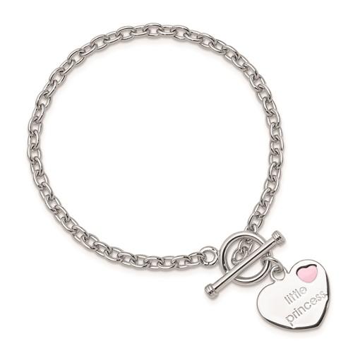 Sterling Silver 6in Childs Little Princess Heart Bracelet