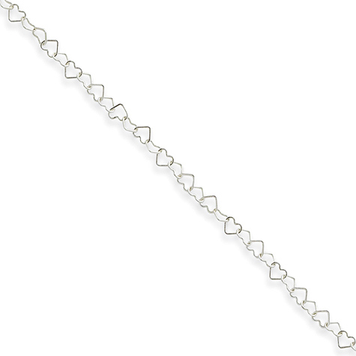 Sterling Silver 10in Italian Heart Link Anklet