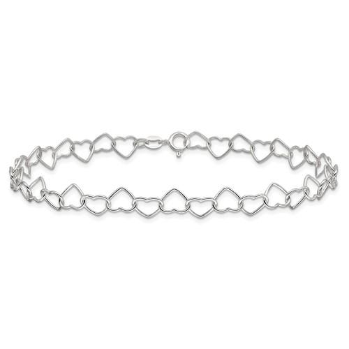 Sterling Silver 10in Italian Fancy Heart Link Anklet