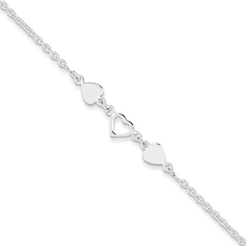 Sterling Silver 9in Anklet with Three Hearts
