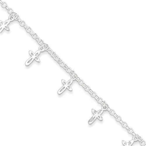Sterling Silver 6in Children's Bracelet with Cross Charms