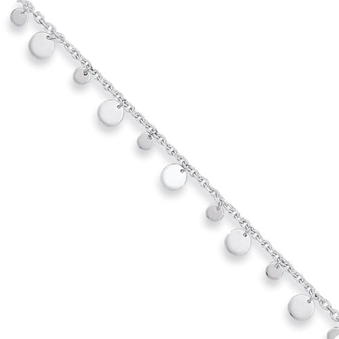 Sterling Silver 10in Dangling Circles Anklet
