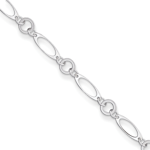 Sterling Silver 10in Anklet with Round and Oval Links