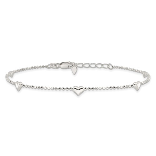 10in Dangling Heart Anklet - Sterling Silver