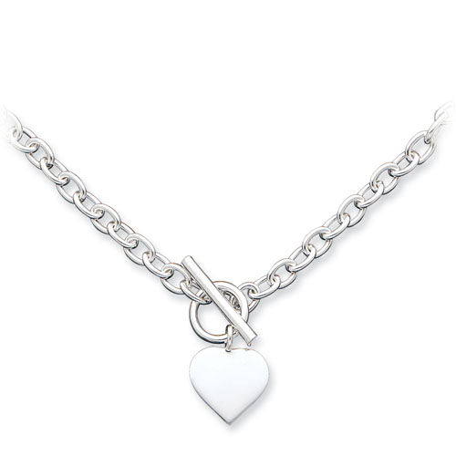18in Heart Necklace - Sterling Silver