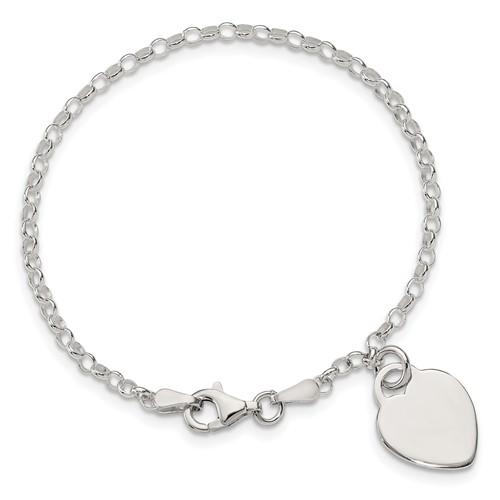 6in Sterling Silver Heart Childs Bracelet