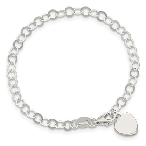 Sterling Silver 7 1/4in Heart Charm Bracelet