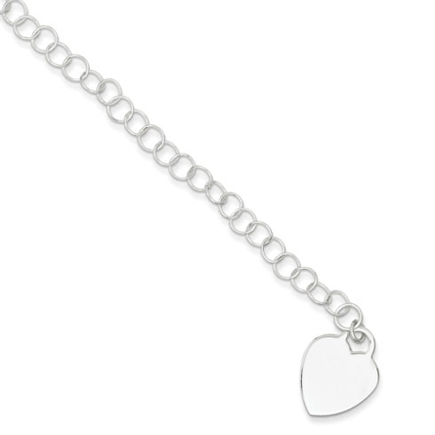 Sterling Silver 7.25in Heart Bracelet with Round Links