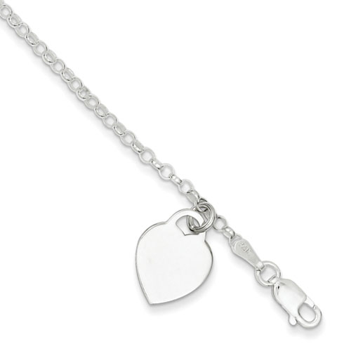 7.25in Heart Charm Bracelet - Sterling Silver