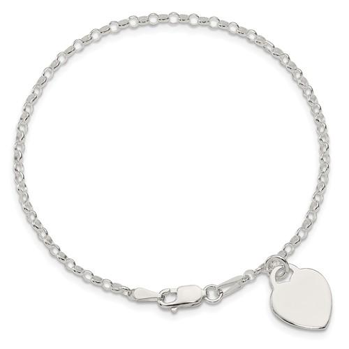 7.25in Heart Charm Bracelet - Sterling Silver