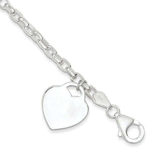 8.5in Heart Charm Bracelet 1.9mm - Sterling Silver