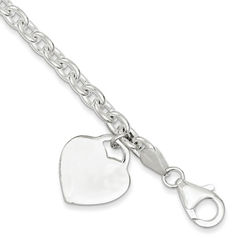 8.5in Heart Charm Bracelet - Sterling Silver