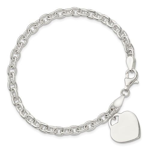 8.5in Heart Charm Bracelet - Sterling Silver