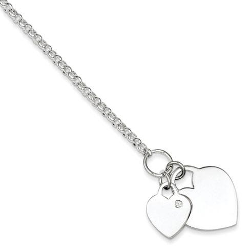 Sterling Silver Double Heart CZ Bracelet 7.25in