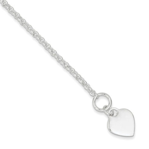 7.5in Heart Bracelet - Sterling Silver